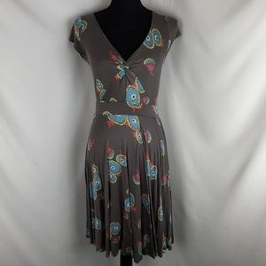 Boden Gray Abstract Twist Front Dress Size 6R